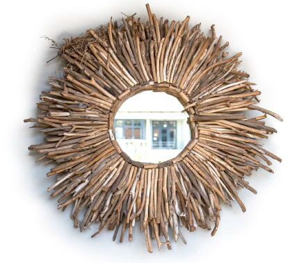 mirror with grass frame