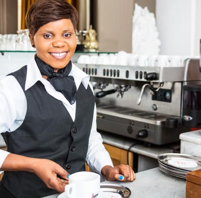 waitress serving cuppachino